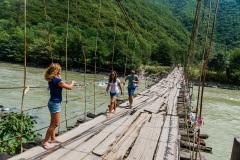 Подвесной мост через горную реку. Абхазия.