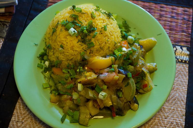 Овощное рагу с рисом по - индийски.